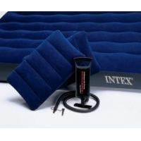 Матрас кемпинговый флок с 2 подушками, механический насос 152х203х22 см INTEX